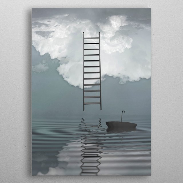 Ladder reflected in water with floating umbrella metal poster