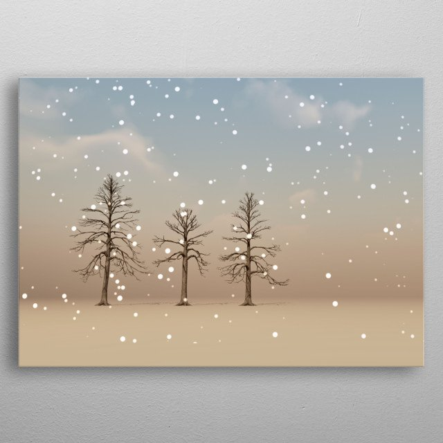 In this colorful illustration light snow fall on the trees from a partly cloudy winter sky. Illustration by Bob Orsillo metal poster