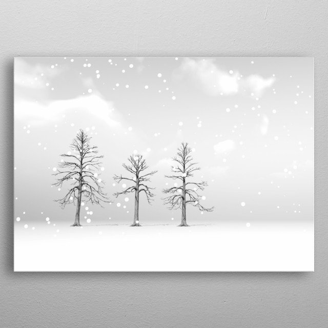 Partly cloudy with large fluffy snow flakes falling on winter trees. Illustration by Bob Orsillo metal poster