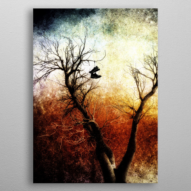 Heavy texture abstract illustration of lost sneakers hanging high up is leafless old tree. Illustrations by Bob Orsillo metal poster