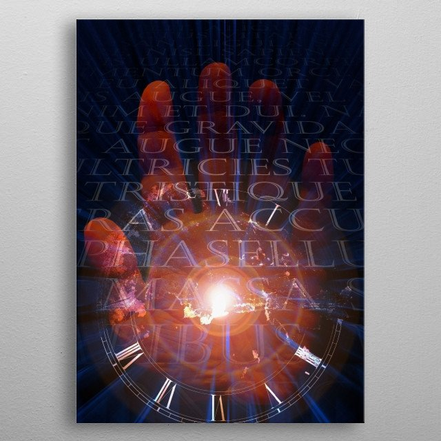 Maker of Time. Clock on human palm metal poster