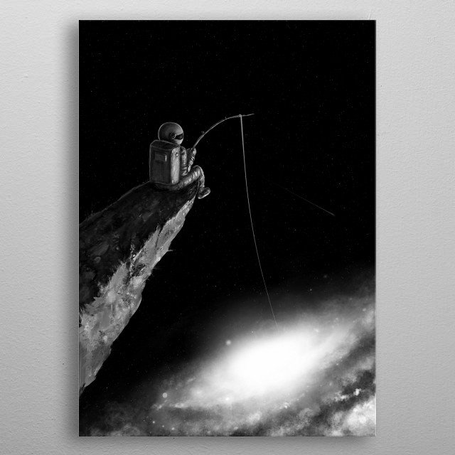 Astronaut fishing a star. metal poster