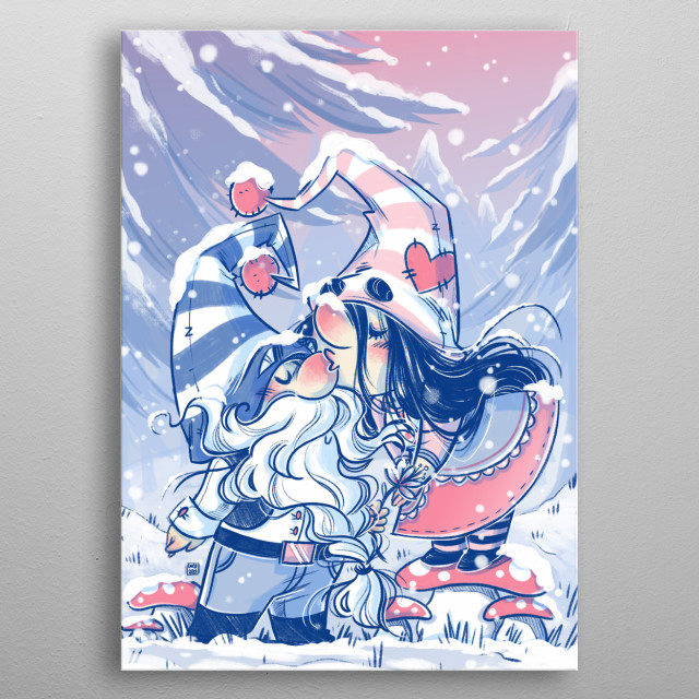 Cute gnome illustration metal poster