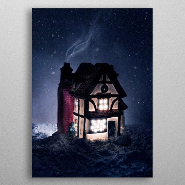 Pretty clay house and falling snow metal poster