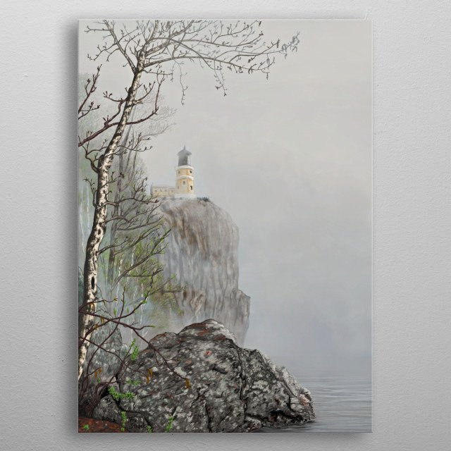 North Shore Lighthouse in the Fog is a digital hand painted to bring out the spring hope for future that was felt with that day of hiking. metal poster