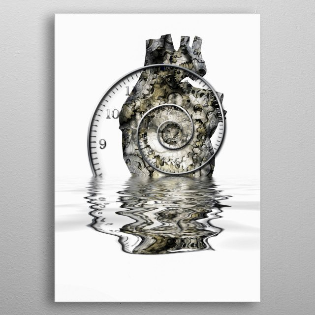 Human heart. Gears and time spiral metal poster