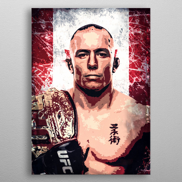 Fighter Georges Rush St. Pierre (GSP, Rush) cartoon/pop art portrait with flag of the Canada. metal poster