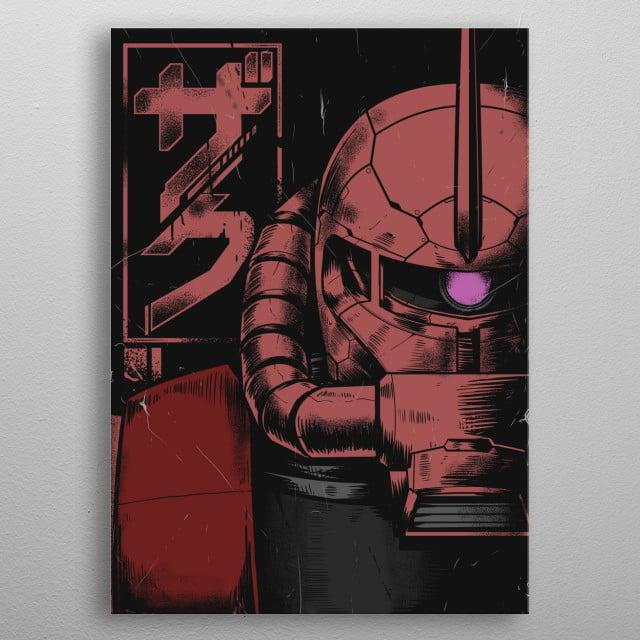 Zaku II Red Char Aznable Custom metal poster