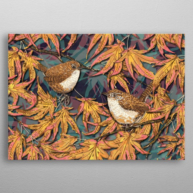 Beautiful little garden wrens sitting in an Acer tree. The art was created digitally from hand-drawn pen/marker drawings. metal poster
