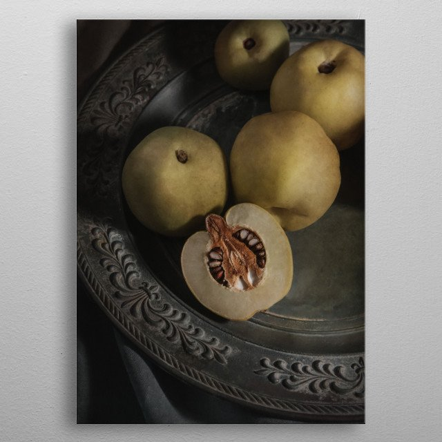 Still life with fresh quinces metal poster