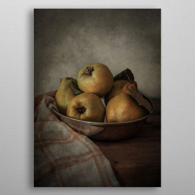 Still life with quinces in metal bowl metal poster