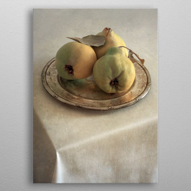 Still life with fresh quinces on silver plate metal poster