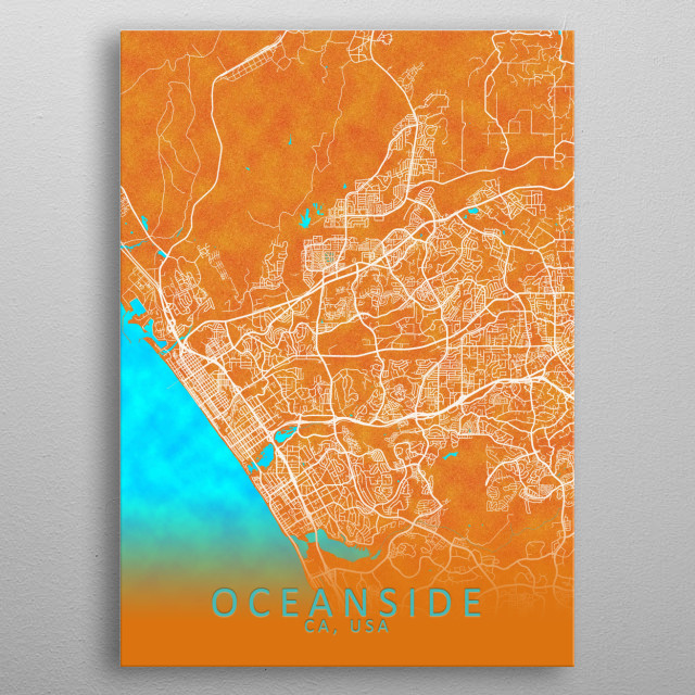 Oceanside CA USA City Map Travel Poster Print | metal ... on ocean beach ca, ocean side or, the ocean house in oceanside ca,