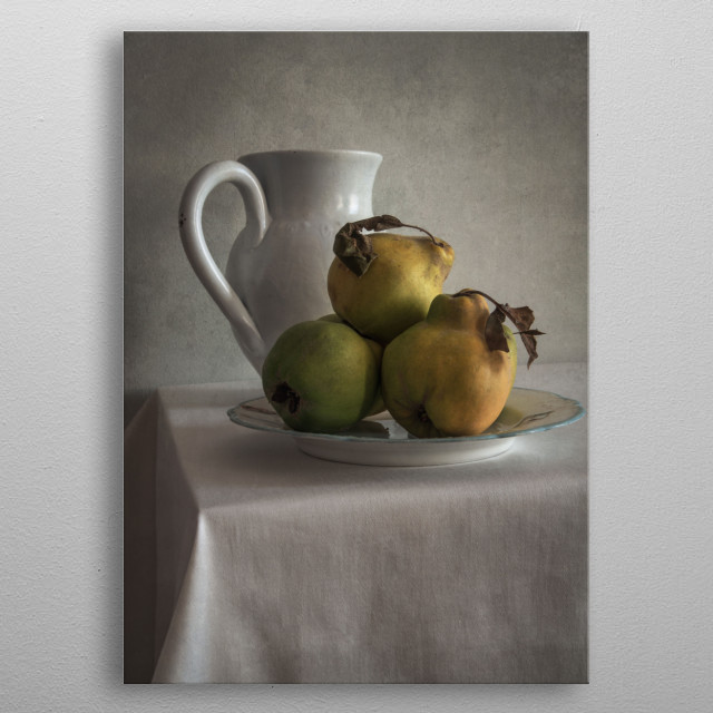 Still life with fresh quinces and white pot metal poster