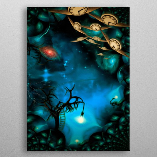 Surreal painting. Old tree with one light bulb on a branch. Universe. Winged clocks represents flow of time metal poster
