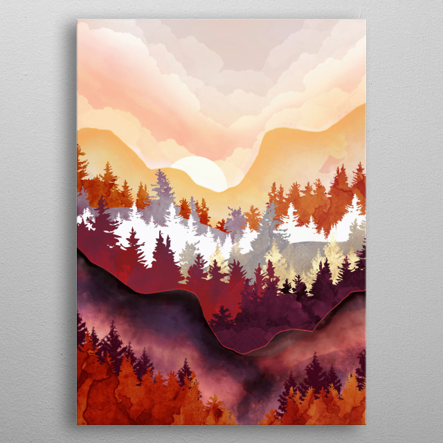 Abstract landscape of an amber forest with mountains, clouds and trees metal poster
