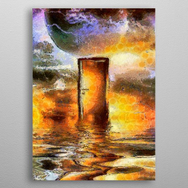 Doorway in cosmic space. Modern art metal poster