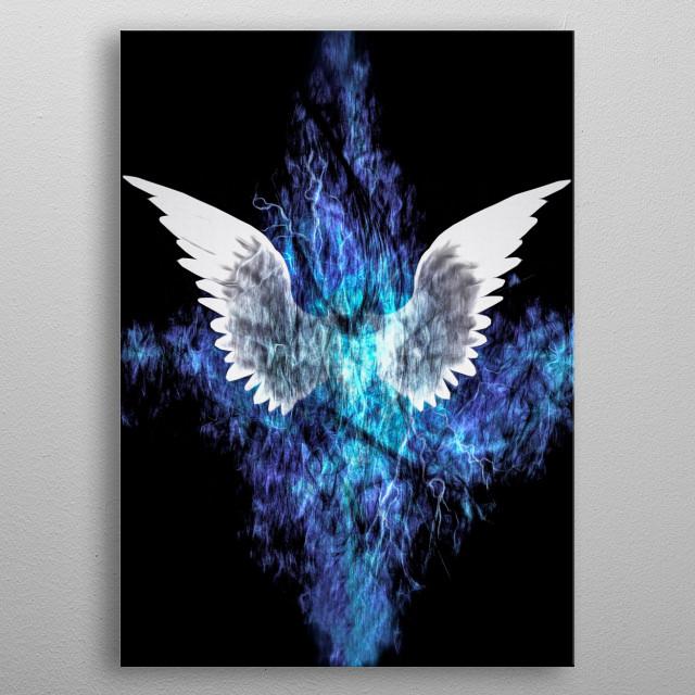 Wings Painting. Spiritual digital art metal poster