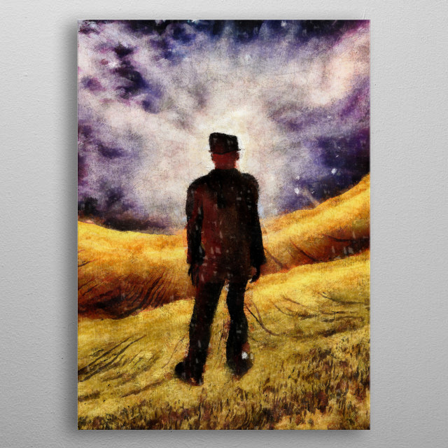 Surreal painting. Man in suit stands in field metal poster