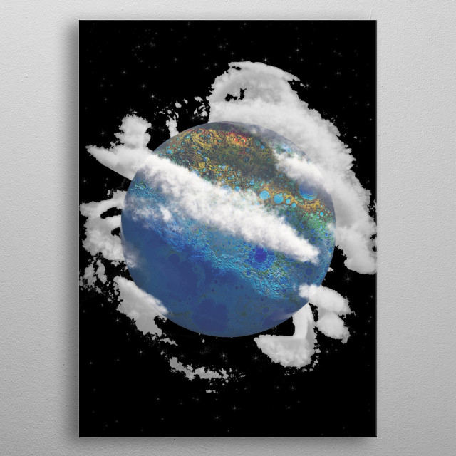 Exoplanet with clouds. Sci-fi composition metal poster
