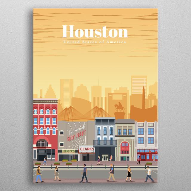 Digital illustration of Houston's skyline and heritage architecture of its Main Street near Preston Street metal poster
