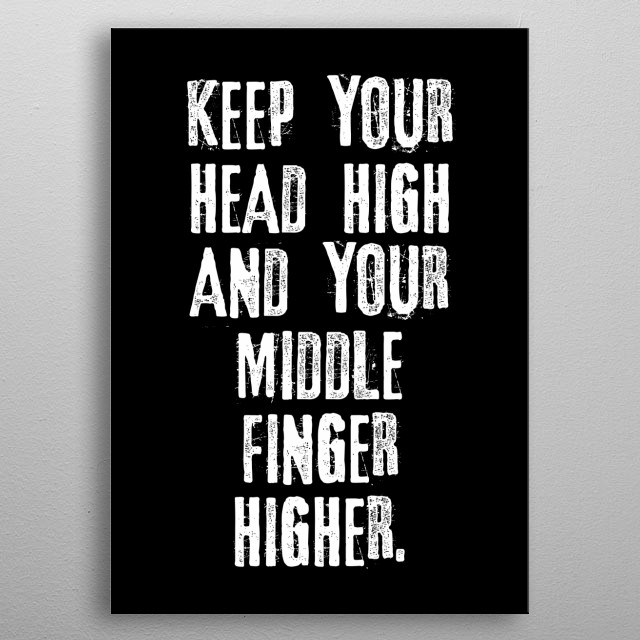 Rude Funny Quotes Finger Text Art Poster Print Metal