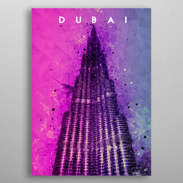 This artwork is perfect for travelers and people who love UAE Dubai specifically Burj Khalifa. This is for your travel memories. metal poster