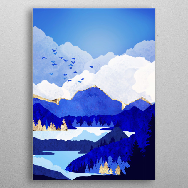 Abstract landscape of a blue lake with trees, mountains and gold metal poster