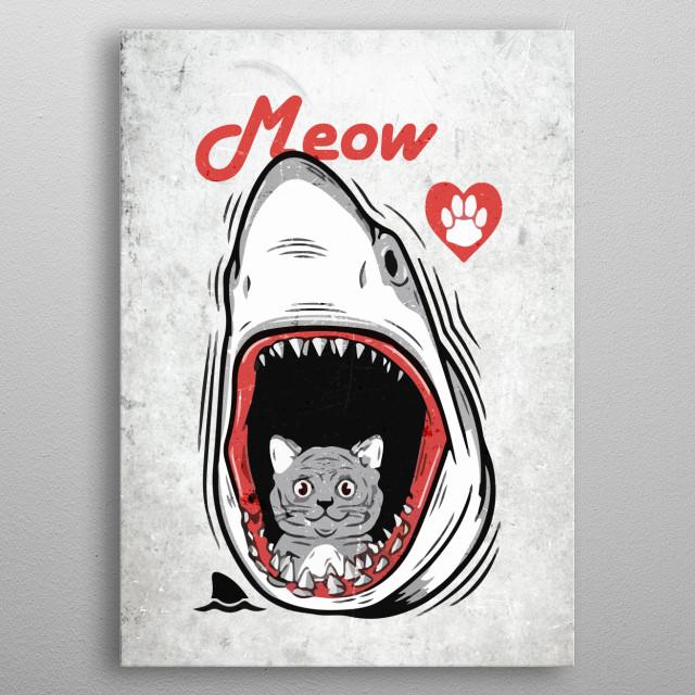 Meow Cute Cat Kitten Jaws metal poster