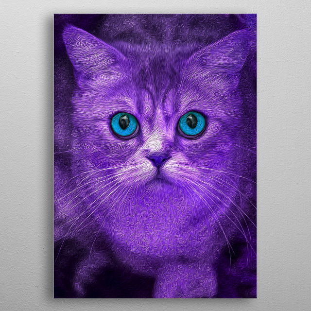 For all the cat lovers out there! An artistic design of a purple cat with blue eyes! metal poster