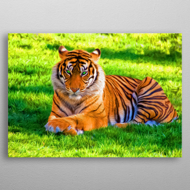 Grass is beautiful. So are tigers. metal poster