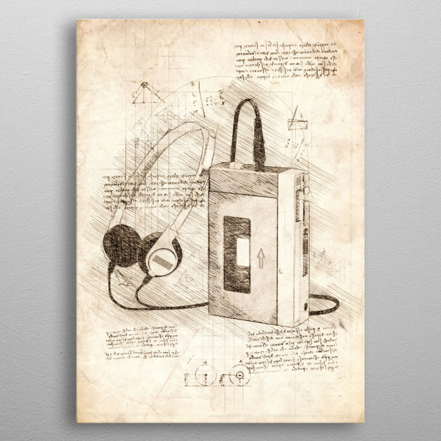 Sketch of a Walkman metal poster