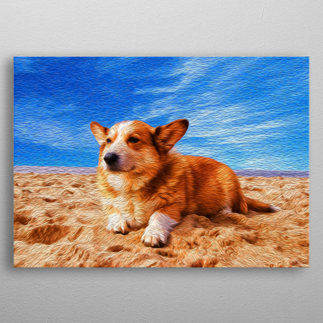There's almost nothing better than being on a beach, in a sunny day, with your dog. metal poster