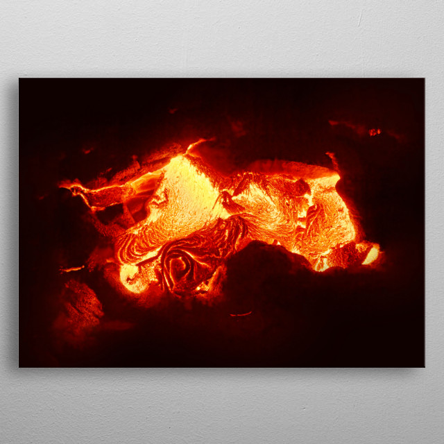 Detailed view of an active lava flow, hot magma emerges from a crack in the earth, the glowing lava appears in strong yellows and reds metal poster