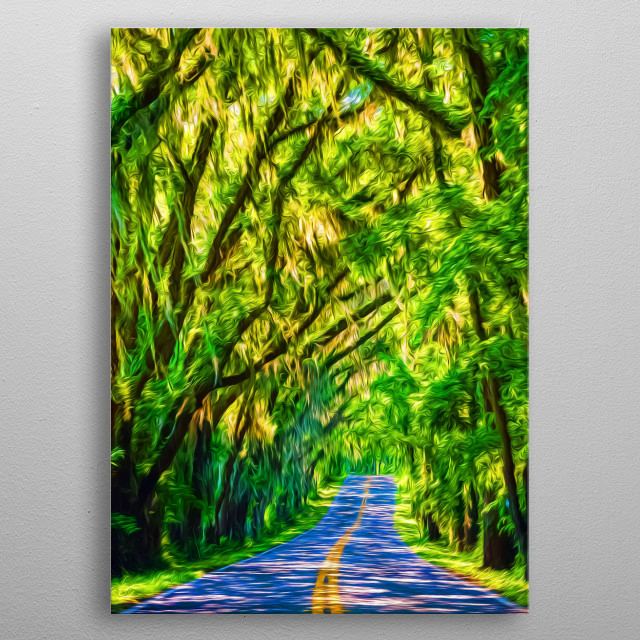 There's nothing like driving on a road surroudned by nothing but forest. metal poster