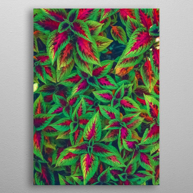 Red and green leaves with an artistic stroke for anyone who loves nature. metal poster