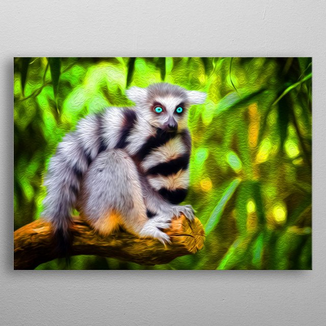 Lemurs are incredibly beautiful, peaceful and agile primates that have fans all over the world. metal poster
