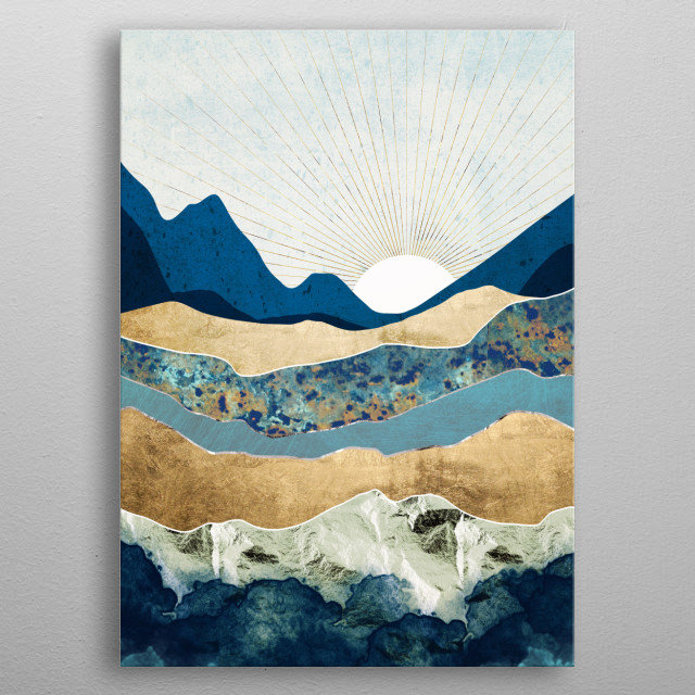 Next Journey is an abstract landscape with mountains, gold, silver, teal and blue metal poster