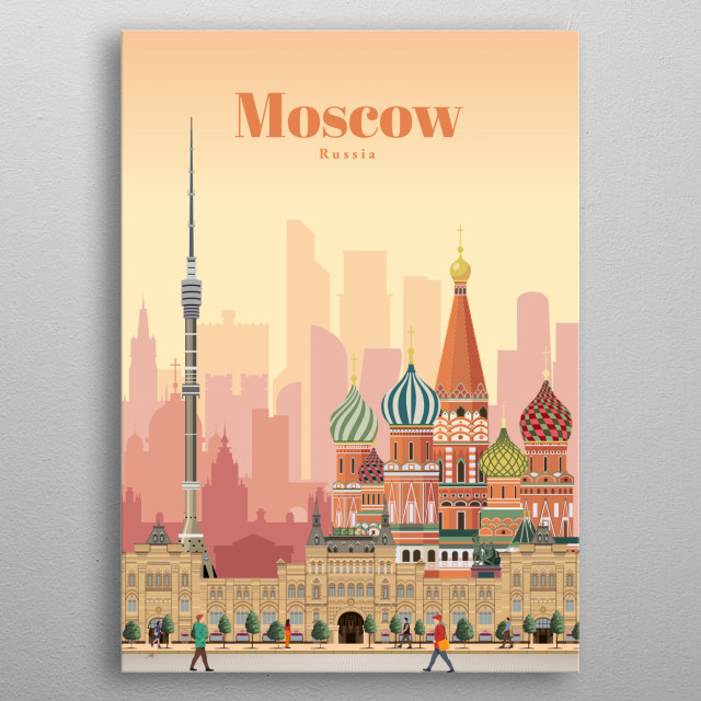 Illustration of Moscow's city skyline and architecture of the famous colorful St. Basil's Cathedral, Roter Platz and Ostankino Tower metal poster