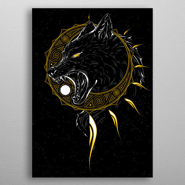 A depiction of Sköll, the wolf from norse mythology told to chase the sun in the hopes of devouring it. metal poster