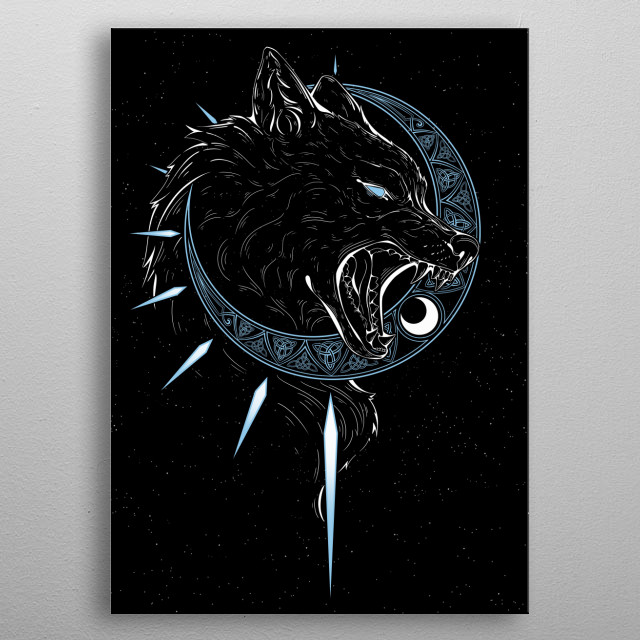 A depiction of the wolf Hati from Norse Mythology that is said to chase the moon in the hopes of devouring it  metal poster