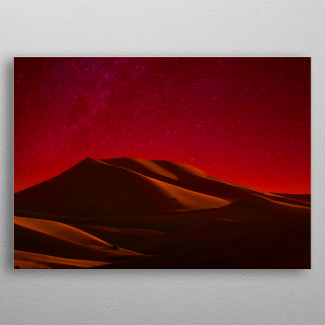 Desert is truly magical and mysterious during night-time. metal poster