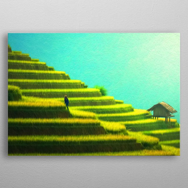The structures of rice fields are simply magnificent. metal poster