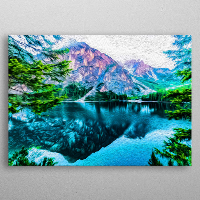 Mountains, forests and lakes... Nature is trully mesmerizing. metal poster
