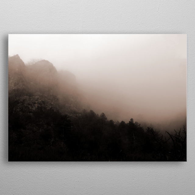 Minimal monochrome capture of foggy rocks and forest in a beautiful winter scape. metal poster