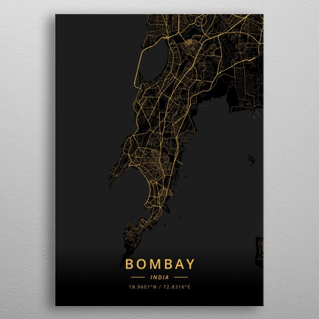 High-quality metal print from amazing City Maps Gold collection will bring unique style to your space and will show off your personality. metal poster