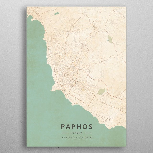 High-quality metal print from amazing City Maps Vintage collection will bring unique style to your space and will show off your personality. metal poster