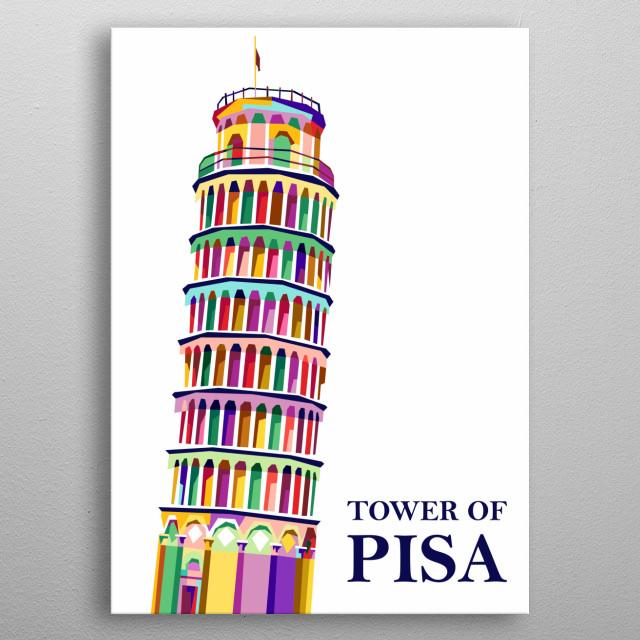 Landmark design illustration colorful style metal poster