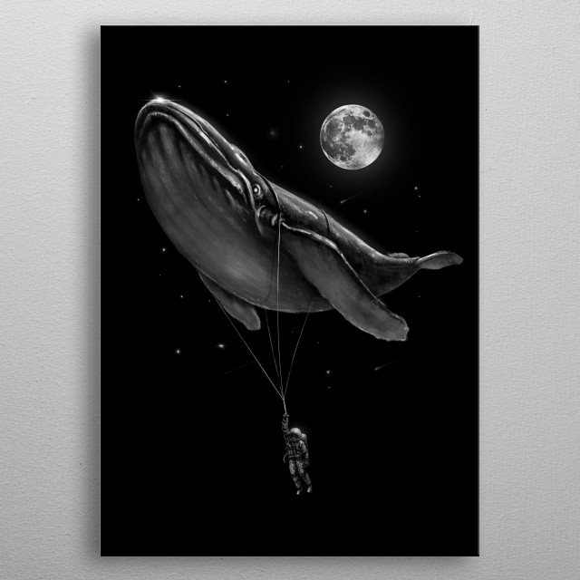 A little lift for my friend whale. metal poster