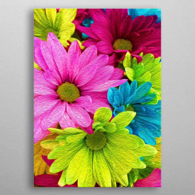 Flowers come in all different colors. metal poster